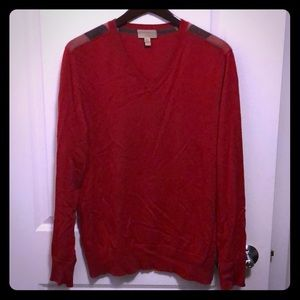 XL Burberry Garth Red Cotton-Cashmere V Sweater